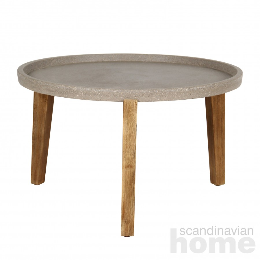 Side table SANDSTONE D73xH48cm, brownish polystone, light wooden legs