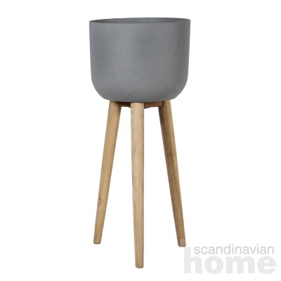 Plant holder SANDSTONE with wooden legs